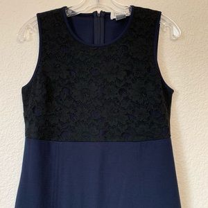 Barney's New York Navy Knit Dress Lace Overlay M